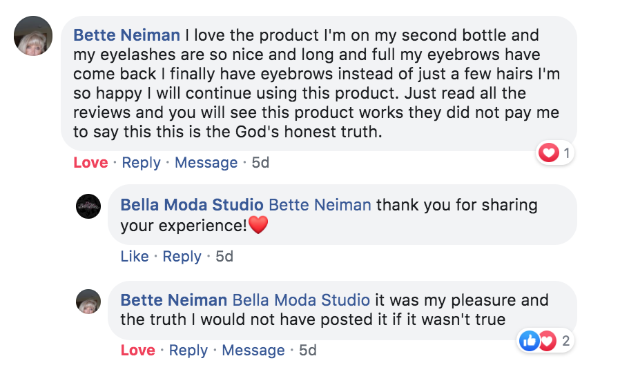 Bette comment Bella Lashes - Eyelash and Brow Growth Enhancing Serum